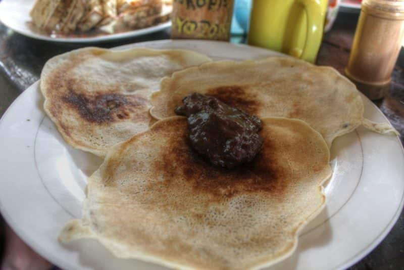 Nacho's Pancake with organic homemade chocolate at La Brisa Finca Natural (March 2015)