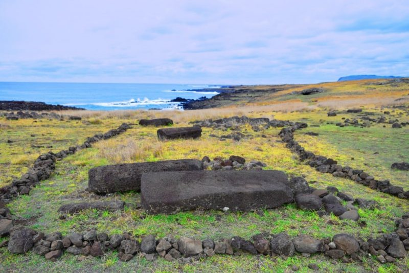 face-down Moais, Easter Island