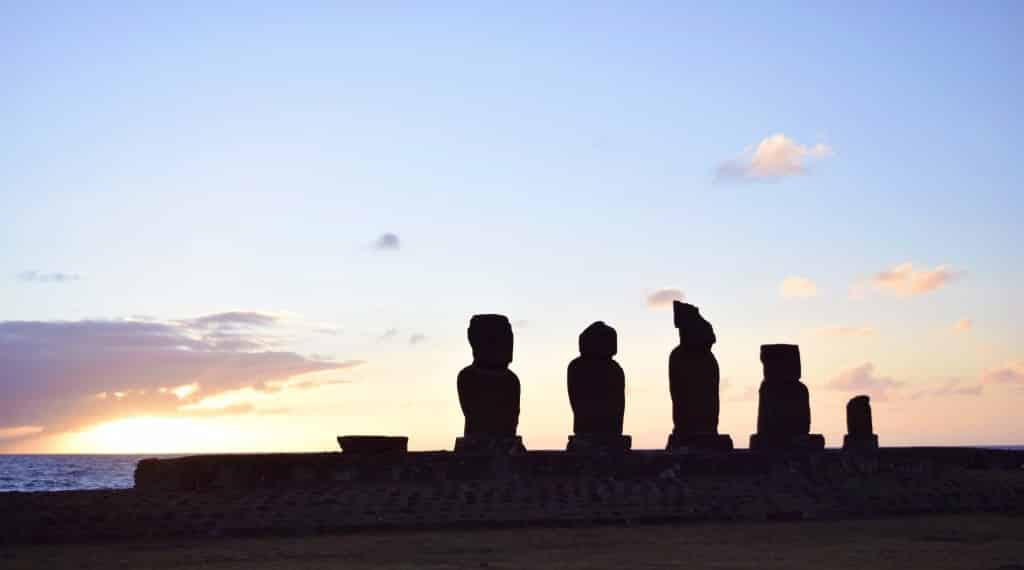 sunset at Tahai, Easter Island, Chile