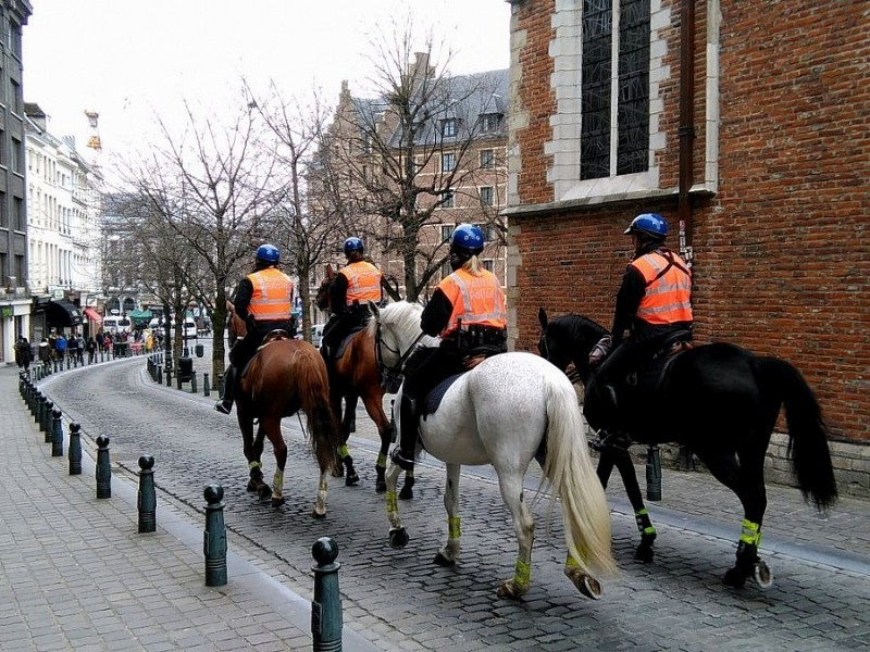 policemen riding around the city center