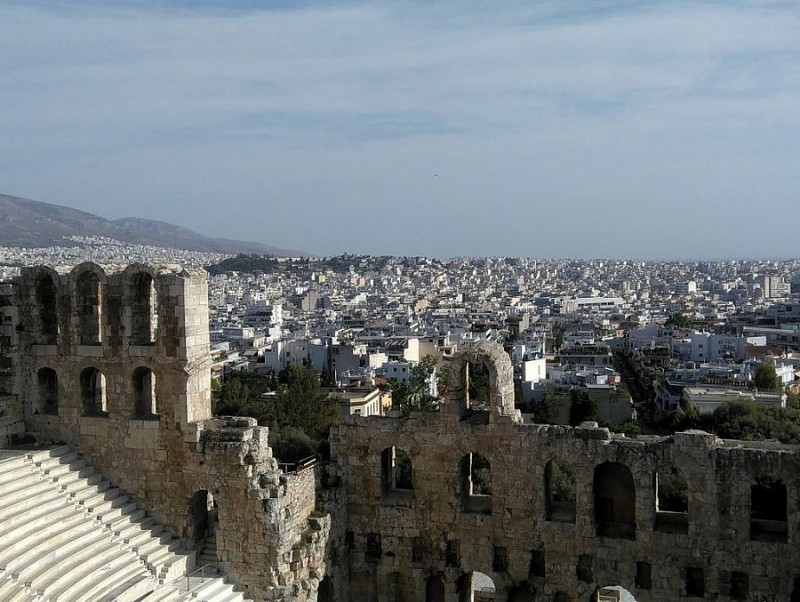 """""""Herodium"""" – odeum of Herodes Atticus with the city in the background"""