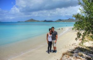 Anelia and me on Small Ffryes Beach, Antigua (February 2016)