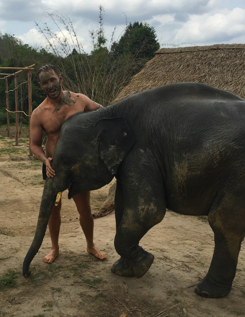 Elephant and I just before our bath.