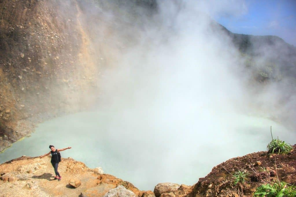 Gina posing with the Boiling Lake