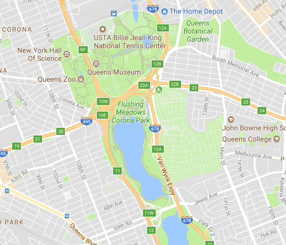 Flushing Meadows Park map