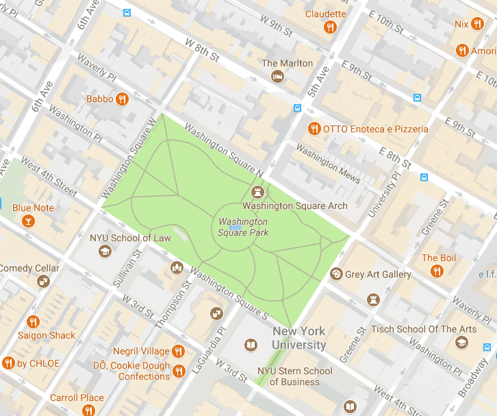 Washington Square Park map