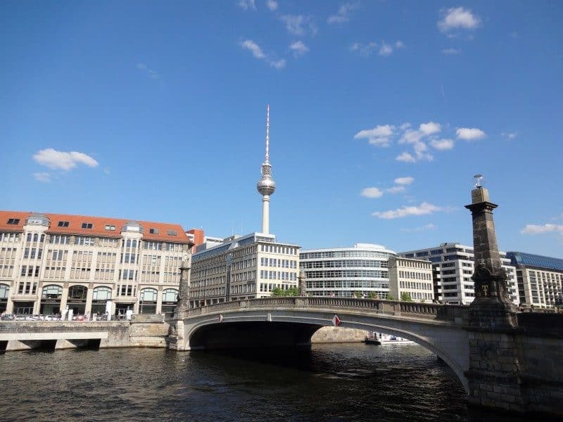 View of the famous Fernsehturm from Museum Island