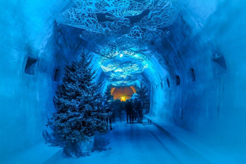 Underground path connecting streets decorated as ice cage as part of Advent in Zagreb