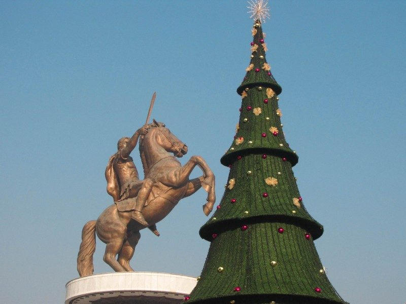 Alexander the Great Monument in Skopje, Macedonia on Christmas - Global Storybook