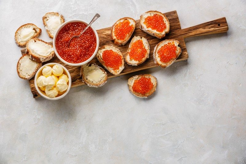 Canapes with Red Caviar - Russian New Year - Global Storybook