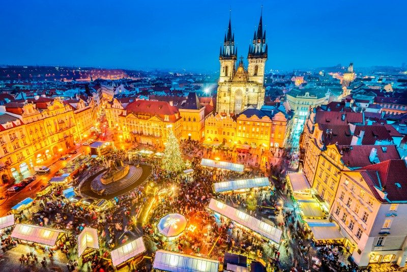 Christmas Market in Stare Mesto old square, Tyn Church, Bohemia, Prague, Czech Republic - Global Storybook