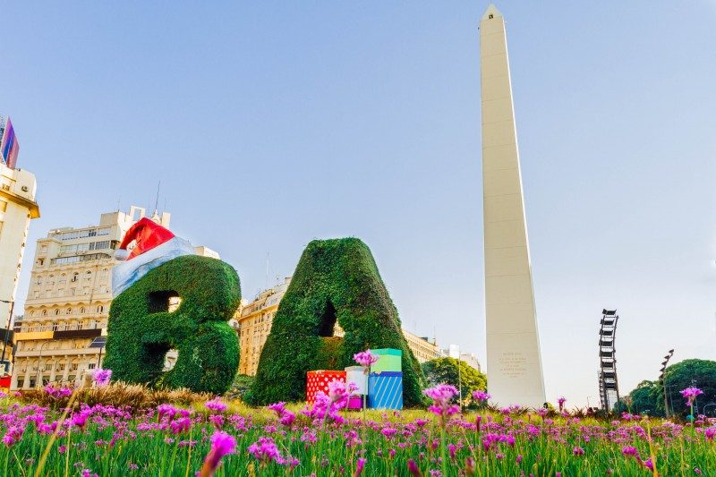Christmas decorations in front of the Obelisk of Buenos Aires, Argentina