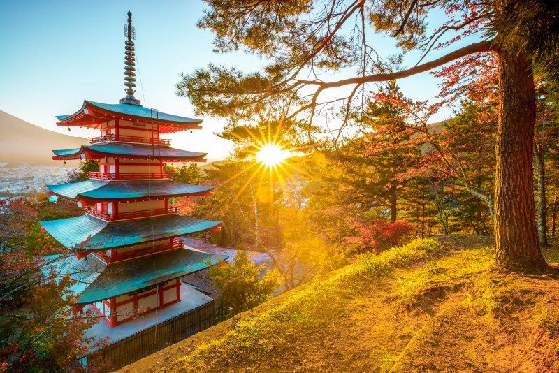Chureito Pagoda with sun flare, Fujiyoshida, Japan - Global Storybook