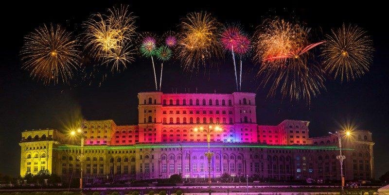 Fireworks over the Palace of the Parliament in Bucharest, Romania - Global Storybook