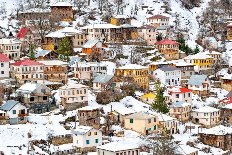 Mountain village from Macedonia in winter - Global Storybook