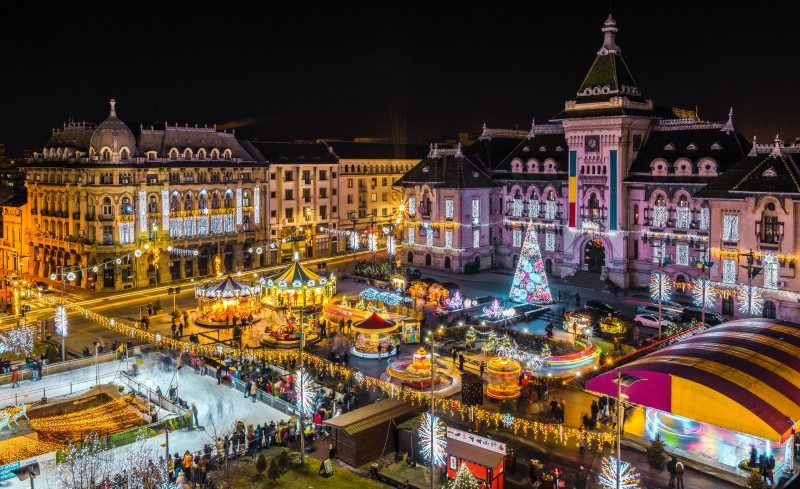Night view in Craiova, Oltenia region, during Christmas - Global Storybook
