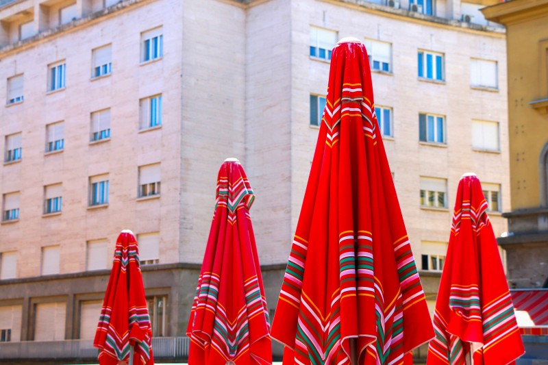Sestine Umbrellas, traditional red umbrellas on Dolac Market in Zagreb, Croatia - Global Storybook