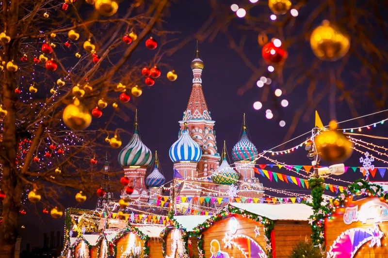 St. Basil's Cathedral on the background of the Christmas Fair, Red Square, Moscow - Global Storybook