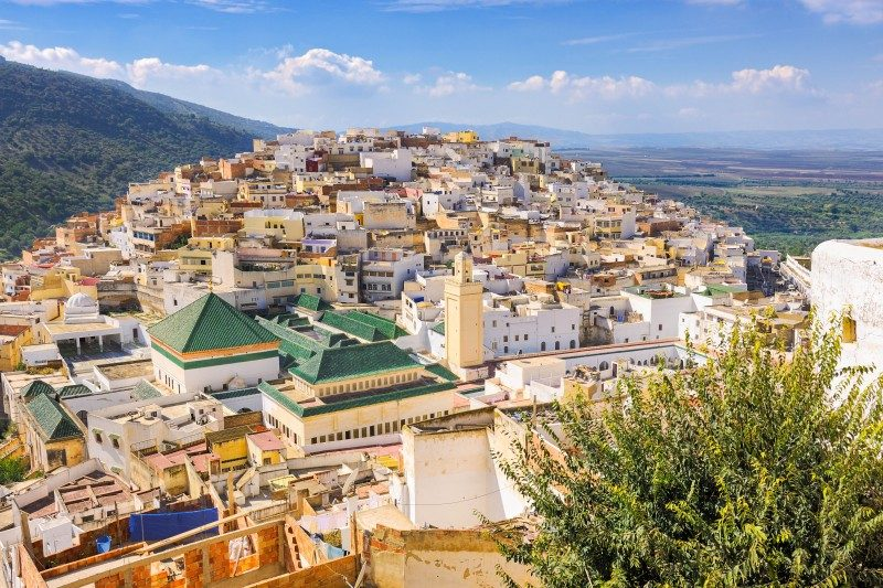 Aerial view over the green tiled roofs of the holy city of Moulay Idriss Zerhoune - Global Storybook