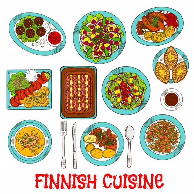 Finnish cuisine dishes with smoked salmon, vegetables, rice, fish rye pies, sausages and meatballs with berry jam, cabbage, reindeer stews, salads with apples, cheese and cloudberries, soup and coffee