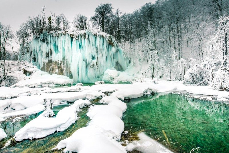 Frozen waterfall, Winter in Plitvice Lakes, Croatia - Global Storybook