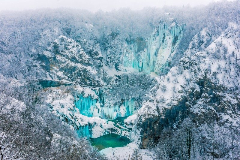 Frozen waterfall in Plitvice Lakes, Croatia - Global Storybook