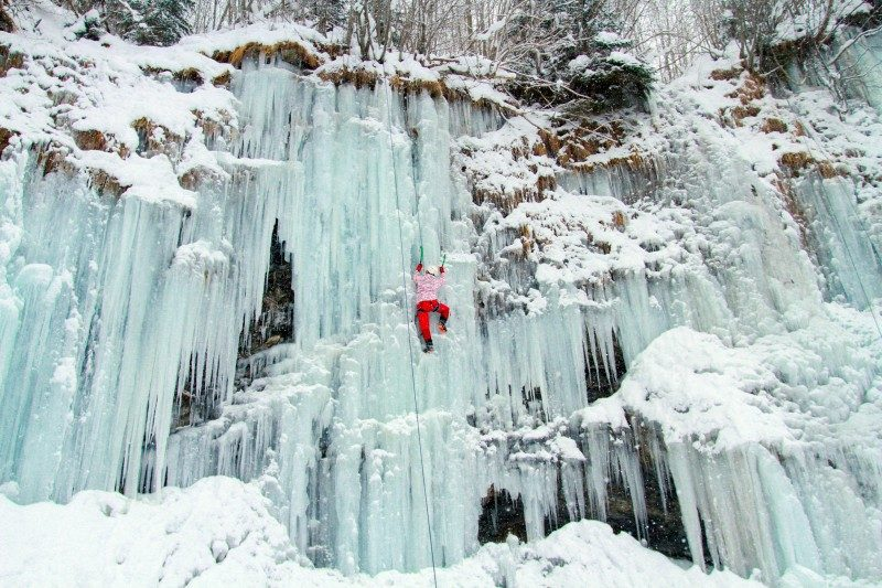 Ice climbing the waterfall
