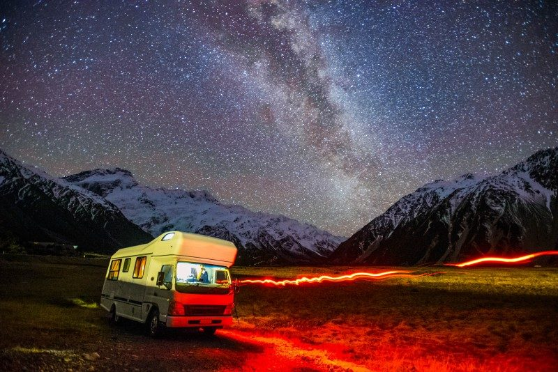 Milky Way Galaxy Rising Above Snow Capped Southern Alps Mountain Range At Mount Cook National Park - Global Storybook