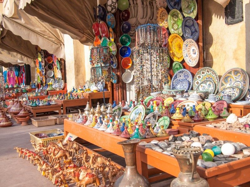 Traditional Moroccan market with artwork - Global Storybook