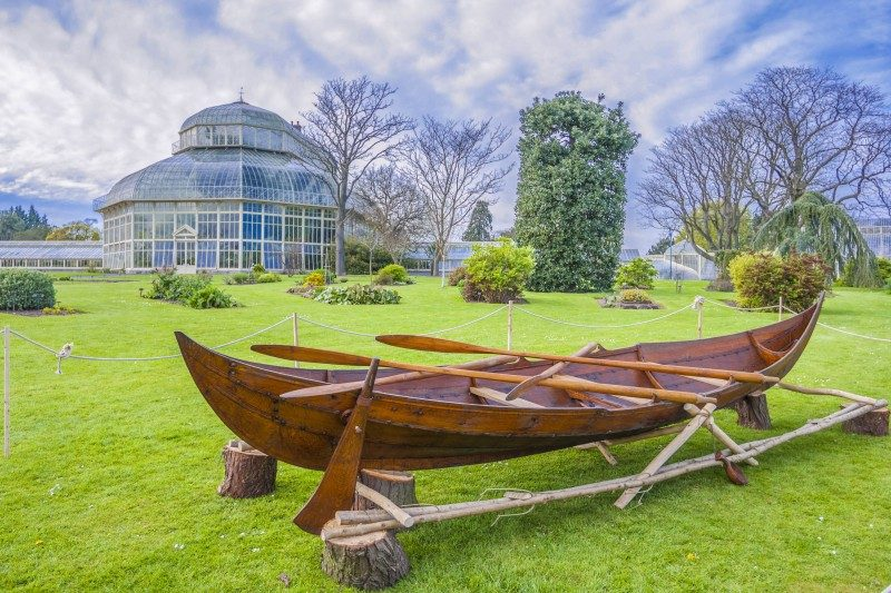 Viking Boat at The Great Palm House - Greenhouse in The National Botanic Garden in Glasnevin, Dublin, Ireland - Global Storybook
